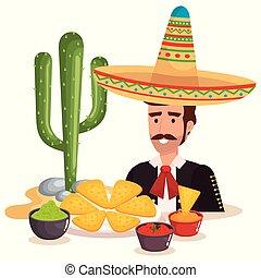 mexicano, mariachi, con, alimento, carácter
