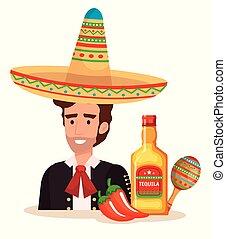 mexicano, mariachi, con, conjunto, iconos, carácter