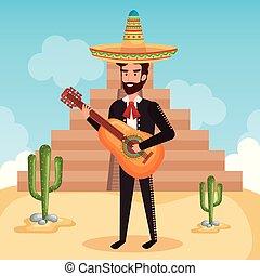 mexicano, mariachi, con, guitarra, carácter
