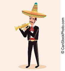 mexicano, mariachi, con, trompeta, carácter