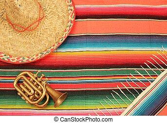 mexicano, mariachi, mayo, de, fiesta, cinco, fundo
