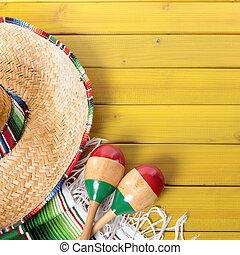 mexicano, mayo, de, cinco, fundo, borda