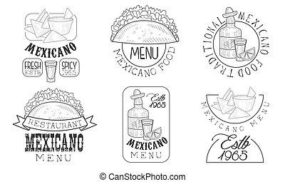 Mexicano Menu Hand Drawn Retro Labels Set, Traditional Fresh...