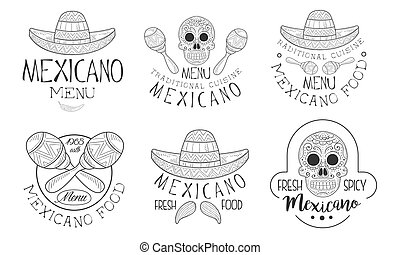 Mexicano Menu Traditional Cuisine Hand Drawn Retro Labels ...
