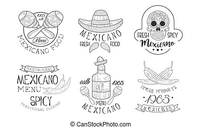 Mexicano Menu Traditional Spicy Cuisine Hand Drawn Retro ...