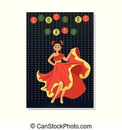 mexicano, mulher, vermelho, dançarino, cinco, sorrindo, mayo, de, vestido, -, posar