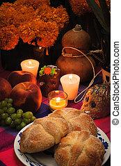 mexicano, ofrecimiento, muertos), altar, de, muerto, (dia,...