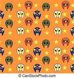 mexicano, padrão, fundo, wrestler, laranja, máscara