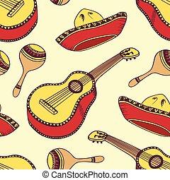 mexicano, padrão, seamless, mão, vetorial, desenhado