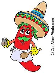 mexicano, pimentões, cozinheiro