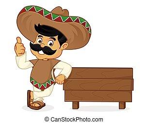 mexicano, prancha, madeira, inclinar-se, caricatura, homem