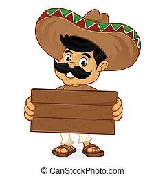 mexicano, prancha, madeira, segurando, caricatura, homem