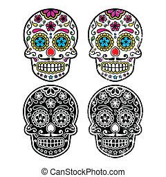 mexicano, retro, açúcar, cranio, ícone