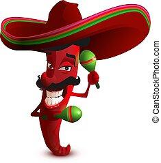 mexicano, sombrero, chiles picantes, chile, sombrero, rojo