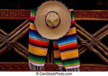 mexicano, sombrero, e, echarpe