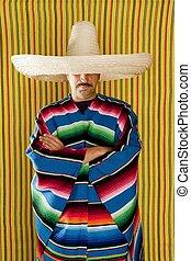 mexicano, sombrero, hombre, serape, poncho, típico