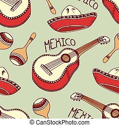mexicano, sombrero, padrão, seamless, mão, guitarra, maracas, desenhado