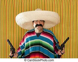 mexicano, sombrero, revólver, bandido, pistolero, bigote