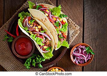 mexicano, tacos, con, carne