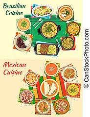 mexicano, y, brasileño, cocina, cenas, icono