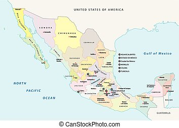 mexico administrative and political vector map