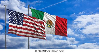 Mexico and America waving flags on blue sky. 3d illustration