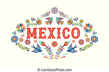 Mexico background, banner with colorful Mexican flowers, birds and elements