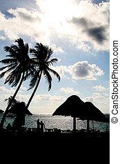 Mexico Beach Coastline with Silhouette