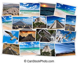 mexico, beelden, collage