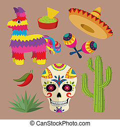 Mexico bright icon set with national mexican objects: sombrero, skull, agave, cactus, pinata, jalapeno peppers, maracas etc.