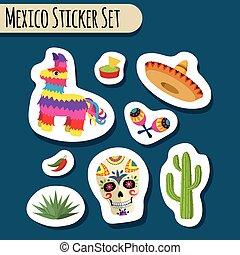 Mexico bright sticker set