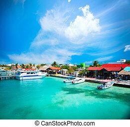 mexico., cancun, mujeres, isla