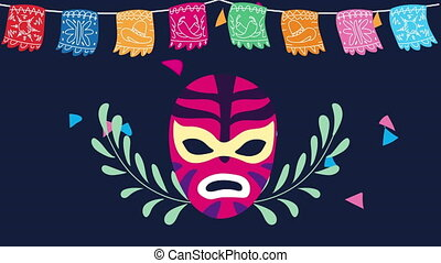 mexico celebration animation with luchador mask and garlands...