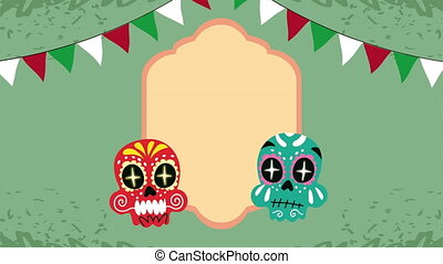 mexico celebration animation with skull painted and garlands...