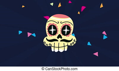 mexico celebration animation with skull painted - mexico ...