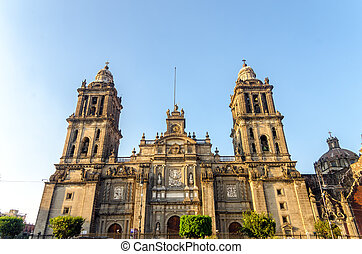Mexico City Cathedral - View of the facade of the cathedral ...