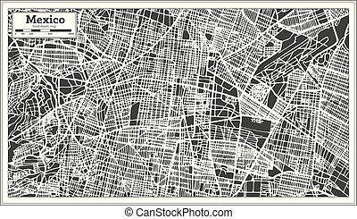 Mexico City Map in Retro Style. Outline Map. Vector Illustration.