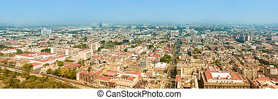Mexico City Panorama - Aerial panorama of Mexico City on a...