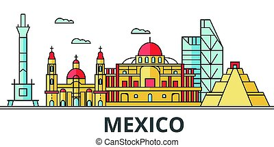 Mexico city skyline. Buildings, streets, silhouette, architecture, landscape, panorama, landmarks. Editable strokes. Flat design line vector illustration concept. Isolated icons on white background
