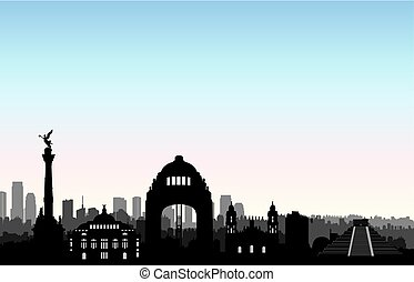 Mexico city skyline. Cityscape landmark silhouette Travel background