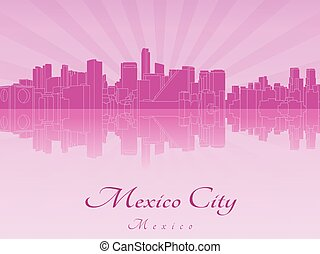 Mexico City skyline in purple radiant orchid in editable vector