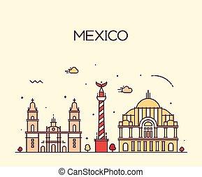 Mexico City skyline Trendy vector line art style