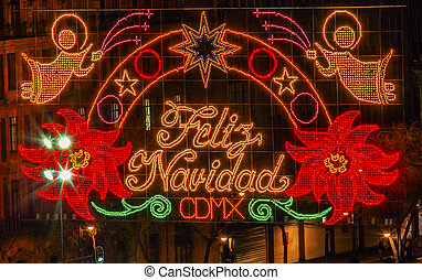 Mexico City Zocalo Christmas Night Feliz Navidad Sign -...