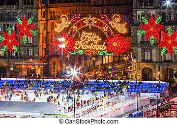 Mexico City Zocalo Christmas Night Ice Skating Rink - Mexico...