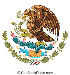 mexico coat of arms - hand drawn illustration of Mexico coat...