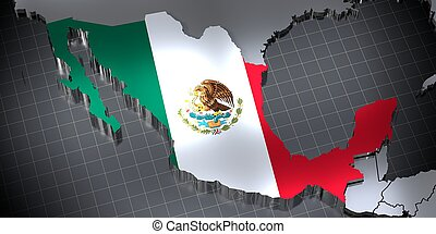 Mexico - country borders and flag - 3D illustration