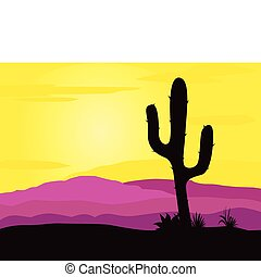 Mexico desert sunset with cactus - Pink and yellow desert...