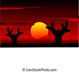 Mexico desert sunset with cactus plants - vector illustration