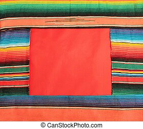 Mexico fiesta poncho rug in bright stripe background with copy space