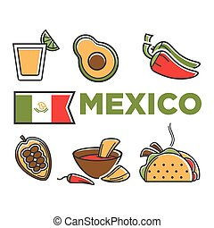 Mexico flad and traditional cuisine isolated illustrations set
